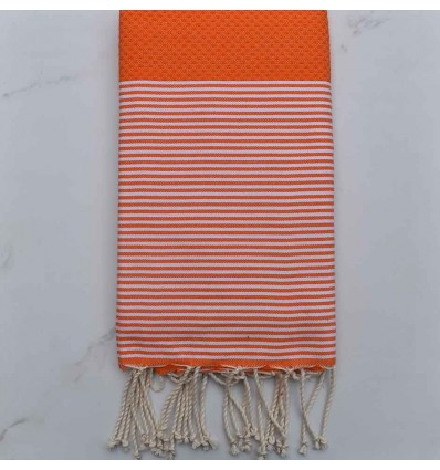 Fouta orange rayée blanc