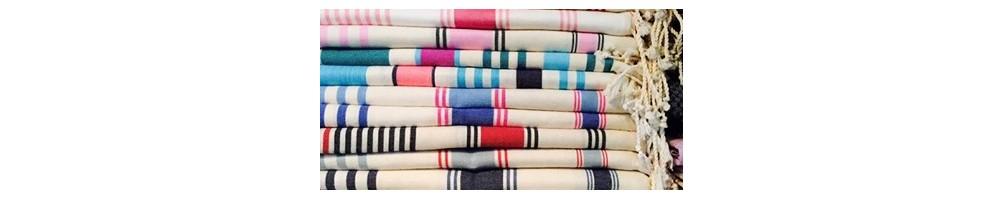 fouta dina - 100% coton avec des rayures en trois couleurs